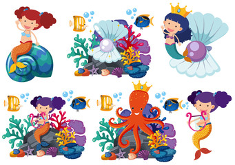 Mermaids and sea animals underwater