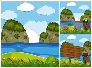 Three nature scenes with crocodiles in river
