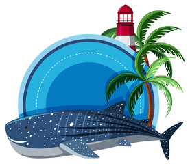 Border template with whale shark and lighthouse