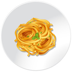 Pasta and vegetables on the plate