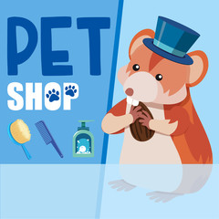 Pet shop poster with hamster eating nut