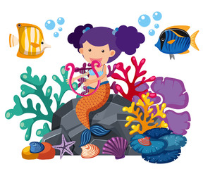 Cute mermaid playing harp with fish underwater