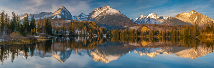 Wall Mural - panorama of a mountain lake in winter scenery, Strbske Pleso, Slovakia, High Tatras