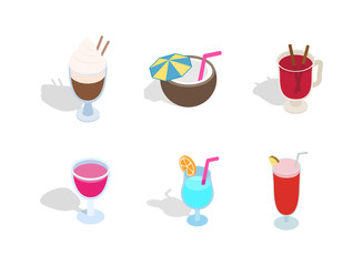 Cocktail icon set, isometric style