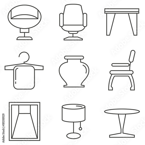 Furniture Icons Home Decor Icons Stock Image And Royalty Free