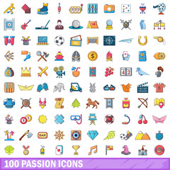 100 passion icons set, cartoon style