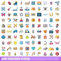 100 passion icons set, cartoon style