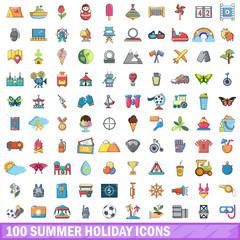 100 summer holiday icons set, cartoon style