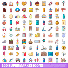 100 supermarket icons set, cartoon style