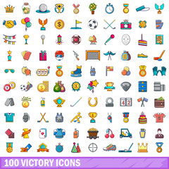 100 victory icons set, cartoon style