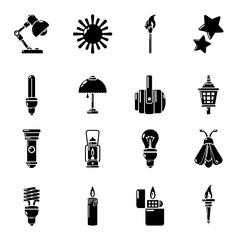 Light source icons set, simple style