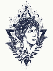 Magic woman goddess Aphrodite tattoo. Scientist tattoo and t-shirt design. Science and education tattoo. Statue of Aphrodite. Symbol of knowledge, poetry, science, philosophy, psychology