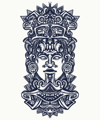 Ancient aztec totem, Mexican god. Ancient Mayan civilization. Indian mayan carved in stone tattoo art. Mayan tattoo and t-shirt design