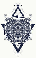 Bear sacred geometry tattoo and t-shirt design. Northern grizzly bear, symbol of force, wild nature, outdoors. Ornamental celtic bear head tattoo