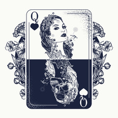 Queen playing card and art nouveau flowers tattoo and t-shirt design. Beautiful girl and skeleton. Symbol of gamblings, Tarot cards, success and defeat, casino, poker