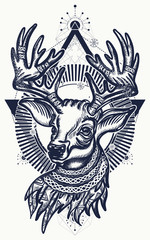 Christmas reindeer. Symbol of winter, new year, Christmas. Beautiful reindeer portrait tattoo art. Deer tattoo and t-shirt design