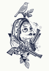 Mexican criminal tattoo art and t-shirt design. Wild west woman tattoo. Santa muerte girl. Sugar Skull. Santa Muerte mexican woman, old revolvers, crime scene