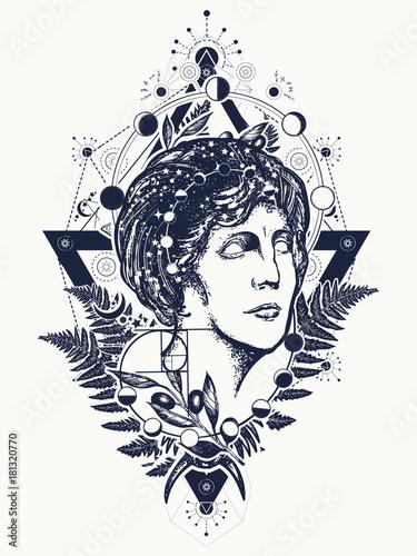 Magic woman goddess Aphrodite tattoo  Scientist tattoo and t-shirt
