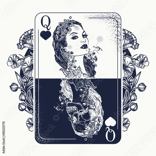 8ec26e8df Queen playing card and art nouveau flowers tattoo and t-shirt design.  Beautiful girl and skeleton. Symbol of gamblings, Tarot cards, success and  defeat, ...