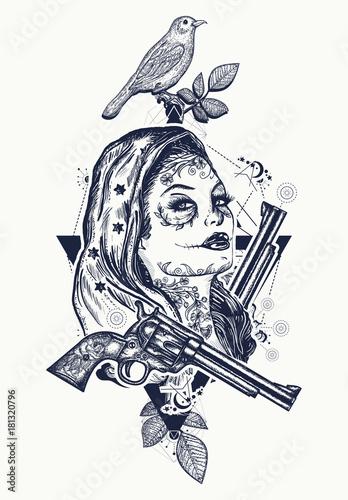 Mexican criminal tattoo art and t-shirt design. Wild west woman ...