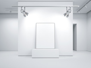 Modern bright gallery with blank picture frame. 3d rendering