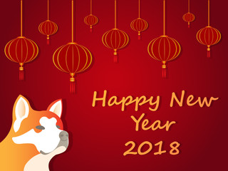 Happy New Year 2018 Dog Year Akita Chinese New Year Dog