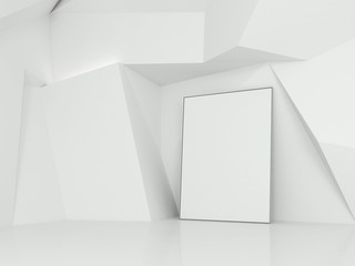 Empty poster in the gallery. 3d rendering