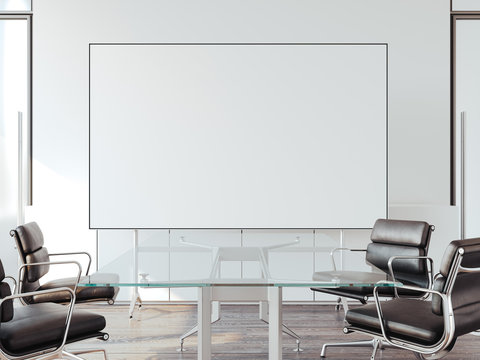 Modern office for negotiations with whiteboard. 3d rendering