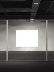 Gallery with blank poster. 3d rendering