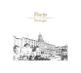 Hand drawn sketch of The Palácio da Bolsa is a historical building in Porto, Portuga in vector illustration.