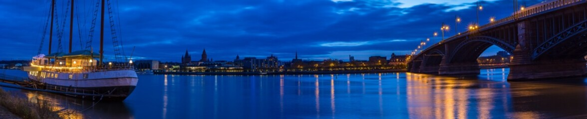 Rhine Riverbank in Mainz, Panorama at Night