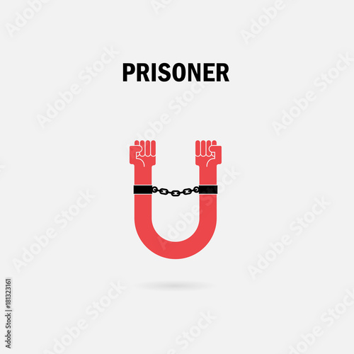 Human Hands And The Chain With U Letter Symbols Prison With