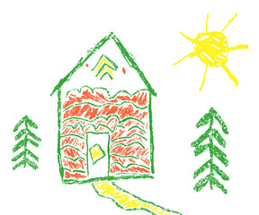 House, sun, fir-tree wax crayon like child`s hand drawn. Pastel chalk or pencil like kid`s hand painting cute funny art spring and summer country village style. Vector background banner.