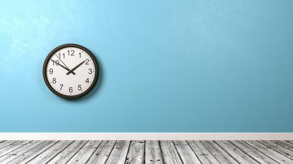 Clock Against Wall in Wooden Floor Room