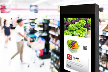 Intelligent Digital Signage , Augmented reality marketing and face recognition concept. Interactive artificial intelligence digital advertisement in retail hypermarket Mall. Wall mural