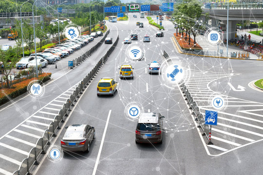 Smart car , Autonomous self-driving mode vehicle on metro city road iot concept with graphic sensor radar signal system and internet sensor connect.