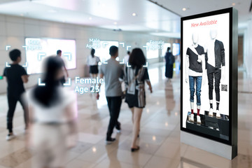 Intelligent Digital Signage , Augmented reality marketing and face recognition concept. Interactive artificial intelligence digital advertisement in retail shopping Mall. Wall mural