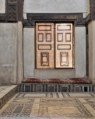 Interleaved wooden window (Mashrabiya) with built-in couch, Medieval Cairo, Egypt