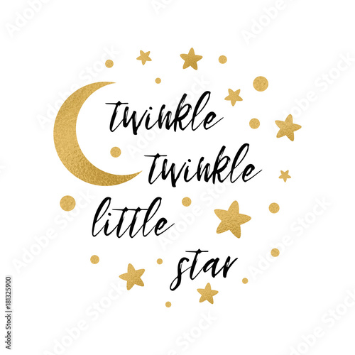Twinkle Twinkle Little Star Text With Gold Star And Moon For Girl