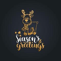 Seasons Greetings lettering on black background. Vector hand drawn Christmas illustration of toy plush deer.