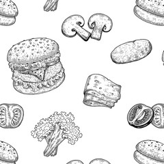 Burger hand drawing vintage style,Components of Burger,Burger seamless pattern