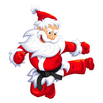 Santa Claus jumping kick in Martial arts and Kickboxing. Vector EPS-10