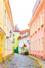 Colorful facades of houses in the Toompea district of the Estonian city Tallin.