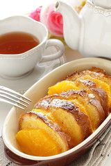 orange and french bread pudding