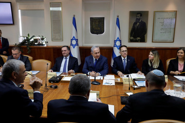Israel's PM Netanyahu attends the weekly cabinet meeting in Jerusalem