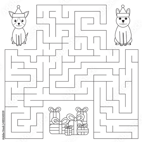 Funny Maze For Children Dogs Are Looking For Gifts New Year Symbol
