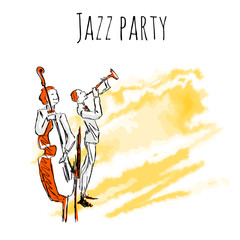 Jazz musicians play trumpet and contrabass on watrecolor background. Vector jazz party poster template with copy space.