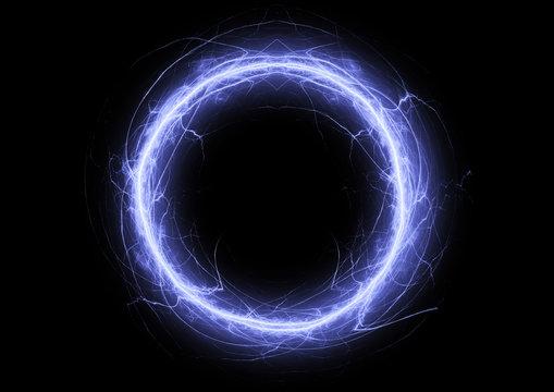 Blue circle lightning, electrical plasma background