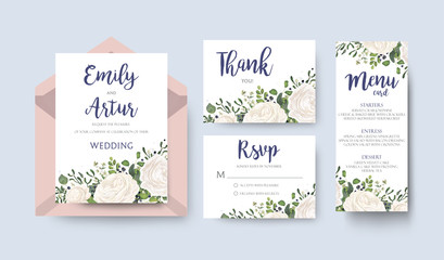 """Wedding Invitation invite card Design with watercolor white rose ranunculus garden flower privet blue berry eucalyptus mistletoe green fern leaf greenery. Elegant floral border. Vector art layout."""