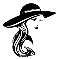 elegant woman wearing wide brimmed hat design - black and white vector portrait of a beautiful girl with long hair